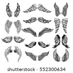 heraldic wings set for tattoo... | Shutterstock .eps vector #552300634