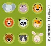 big set head of animals icons.... | Shutterstock .eps vector #552301144