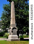Small photo of Fitzwilliam, New Hampshire - July 11, 2013: American Civil War memorial obelisk on the Village Green engraved with names of fallen soldiers from the village