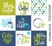 set of coffee sketch with... | Shutterstock .eps vector #552310369