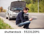 a young man sits on the side of ... | Shutterstock . vector #552312091