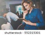 beautiful blonde businesswoman... | Shutterstock . vector #552315301