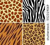 four seamless tiling animal... | Shutterstock . vector #552319069