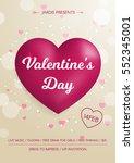 valentine's day flyer. 3d pink...   Shutterstock .eps vector #552345001