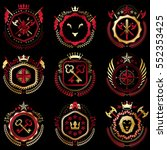 set of vector vintage emblems... | Shutterstock .eps vector #552353425
