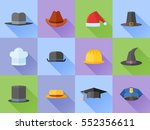 set of hats flat style icons... | Shutterstock .eps vector #552356611