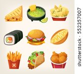 set of colorful takeaway food... | Shutterstock .eps vector #552357007