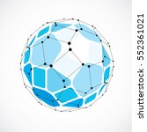 abstract 3d faceted figure with ... | Shutterstock .eps vector #552361021