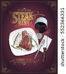 steak menu design with hand... | Shutterstock .eps vector #552366331