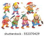 the snow white and seven dwarfs.... | Shutterstock . vector #552370429
