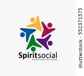 the best social logo icon full... | Shutterstock .eps vector #552371575