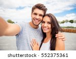 loving cheerful happy couple... | Shutterstock . vector #552375361