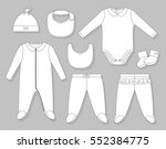 baby girl clothes set flat... | Shutterstock .eps vector #552384775