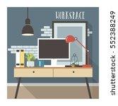 modern workplace interior in... | Shutterstock .eps vector #552388249