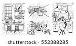 modern rooms interiors in loft...   Shutterstock .eps vector #552388285