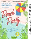 beach party tropical poster... | Shutterstock .eps vector #552388309