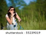 woman with old fashioned bike... | Shutterstock . vector #55239019