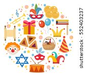 purim icons set in round shape  ... | Shutterstock .eps vector #552403237