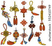 chinese knots set. symbol of... | Shutterstock .eps vector #552410749