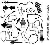 hand drawn arrows doodle set.... | Shutterstock .eps vector #552436309