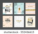 set of birthday greeting cards... | Shutterstock .eps vector #552436615