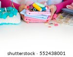 female hands and accessories... | Shutterstock . vector #552438001