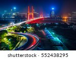 urban traffic with cityscape in ... | Shutterstock . vector #552438295