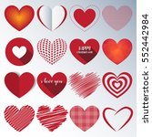 heart paper sticker with shadow ... | Shutterstock .eps vector #552442984