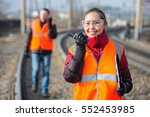 railroad workers doing their job | Shutterstock . vector #552453985