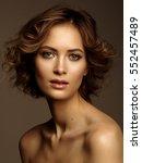fashionable close up portrait... | Shutterstock . vector #552457489