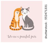 Stock vector valentine s day card with couple of cute cats 552471331