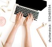 top view office desk. workspace ... | Shutterstock . vector #552485554