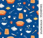 apple pie ingredients seamless... | Shutterstock .eps vector #552489481