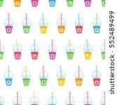 smoothie cartoon seamless... | Shutterstock .eps vector #552489499
