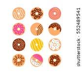 doodle donuts vector set ... | Shutterstock .eps vector #552489541