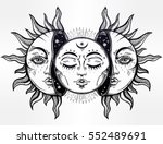 beautiful moon and sun with... | Shutterstock .eps vector #552489691