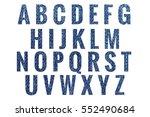 abc blue jeans texture alphabet ... | Shutterstock . vector #552490684