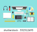cartoon designer workplace top... | Shutterstock .eps vector #552512695