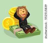 business lion laying on money | Shutterstock . vector #552515839