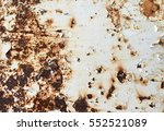 rusted white painted metal wall.... | Shutterstock . vector #552521089