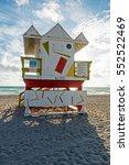 art deco lifeguard hut colorful ... | Shutterstock . vector #552522469