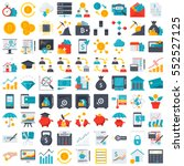 FinTech financial technology and finance icons in flat style | Shutterstock vector #552527125