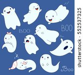 set of cute ghosts with... | Shutterstock .eps vector #552537325