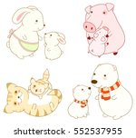 set of cute cartoon animals in... | Shutterstock .eps vector #552537955