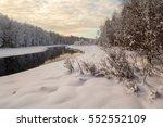 Beach Frozen River. Winter...