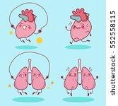 cute cartoon heart and lung... | Shutterstock .eps vector #552558115