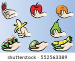 vector drawing hand holding...   Shutterstock .eps vector #552563389