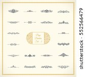 New Calligraphic Page Divider set and Element of vintage ornament. Elements for retro logo and vector crest, decorative border line. Gold royal border book