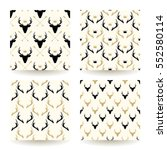 set of four deer heads and...   Shutterstock .eps vector #552580114