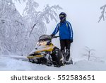the sportsman on snowmobile... | Shutterstock . vector #552583651